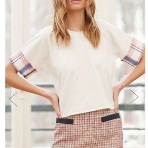Claudie Pierlot Short Sleeve Plaid Trimmed Top